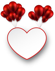 Celebrate love background with red balloons.