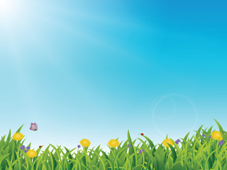 Spring Banner, copy space, blue sky, flowers and happiness