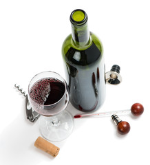 Red wine and accessories for wine from mahogany