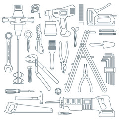 vector outline various house repair tools instruments set.