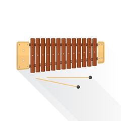 color flat style vector wood xylophone with sticks