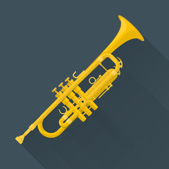 color flat style vector trumpet on dark background .
