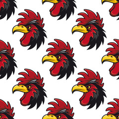 Cartoon cock or rooster seamless pattern