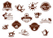 Coffee icons, banners and logos in brown