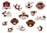 Fototapety Coffee icons, banners and logos in brown