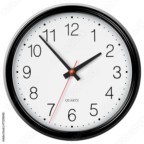 Vector classic black wall circular clock with round points