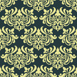 Yellow floral damask seamless pattern