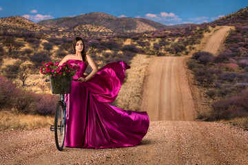 Woman in beautiful pink dress