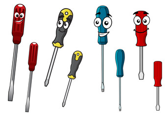 Colorful cartoon screwdrivers characters
