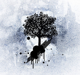 silhouette tree on grunge background