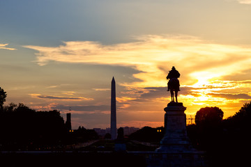 Washington Monument and National Mall at sunset, Washington DC