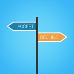Accept vs decline choice road sign