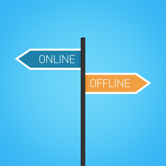 Online vs offline choice road sign