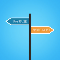 Pay raise vs pay decrease choice road sign