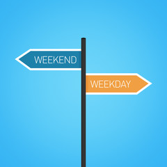 Weekend vs weekday choice road sign