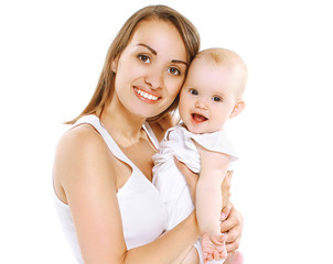 Happy young mom and baby having fun together