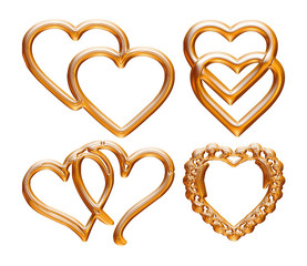 Set of golden symbol heart on isolated white