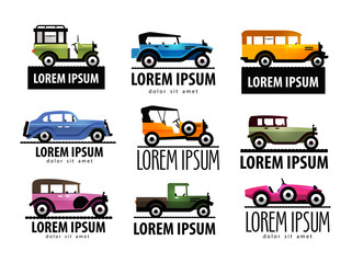 retro car vector logo design template. transport or