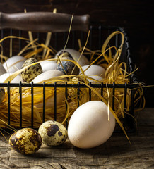 Basket of freshly laid  eggs lying on straw in the barn
