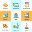 Finance and money line icons set