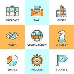 Global business line icons set