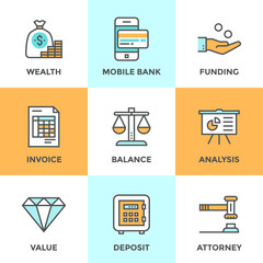 Banking and funding line icons set