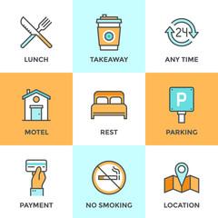 Motel services line icons set