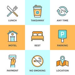Motel services line icons set
