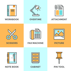 Office objects line icons set