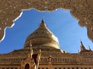 perforated design of pavillion in Myanmar temple