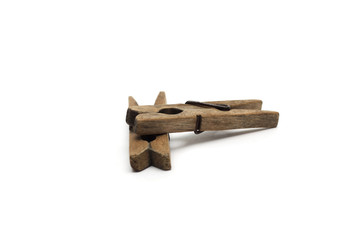 Wooden clothespin. Photo.