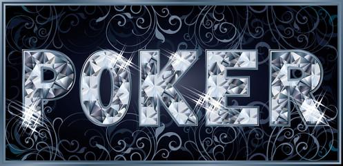 Diamond royal poker banner, vector illustration