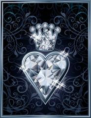 Diamond Poker hearts royal card, vector illustration