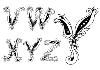 Floral black and white capital letters