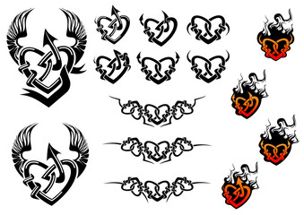 Entwined hearts tattoos with wings and flames