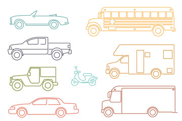 Line Icon Style Automotive Symbol Vector Set