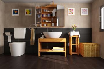 Badezimmer mit Waschbecken und WC