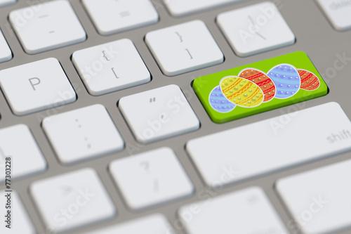 Ostereier auf Tastatur zu Ostern - 77303228