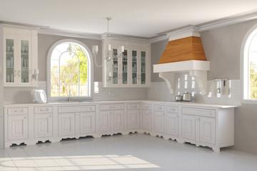 Neue leere saubere Küche in weiß