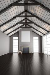 Dachgeschoss mit Kamin im Haus
