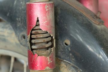 motorcycle chock absorber rusty crack broken