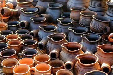 Ukrainian traditional handmade ceramic pots