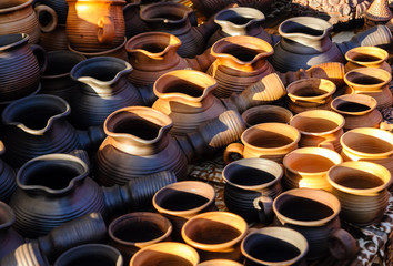 Ukrainian traditional handmade ceramic pots
