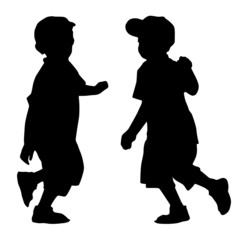 Silhouettes of two boys who run