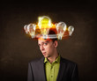 man with light bulbs circleing around his head