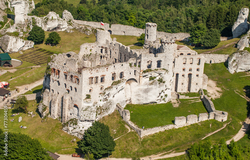 POLAND, OGRODZIENIEC  - JUNE 07, 2014: aerial view of castle