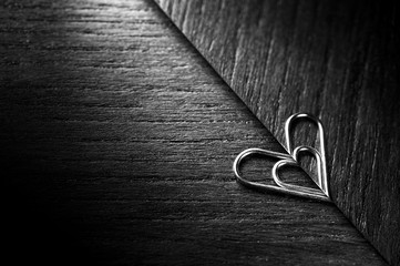 Heart shaped paper clip with reflextion