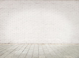 Fototapety room with white bricks wall and gray floor