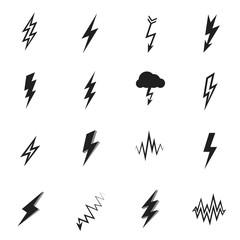 Set of lightning icons and flash symbols
