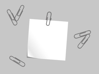 Vector note paper with clip.